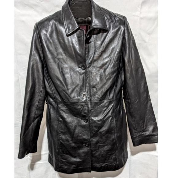 BURRY LANE Black Leather Coat Lined Medium